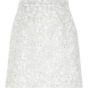 Silver sparkly lace A-line skirt