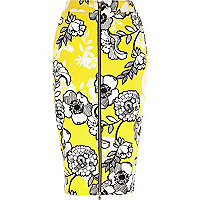 Yellow floral print front zip pencil skirt