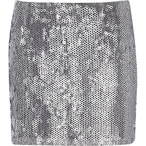 Silver sequin mini skirt