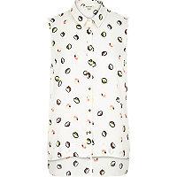 Yellow lemon print sleeveless shirt