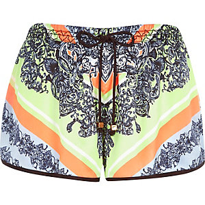 Yellow baroque print runner shorts