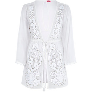 White embellished drawstring kaftan