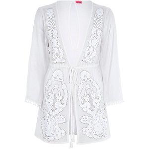 White embellished drawstring kaftan
