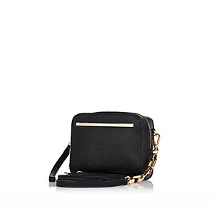 Black textured cross body handbag