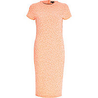 Coral textured bodycon midi dress