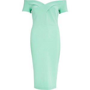 Light green bardot midi party dress