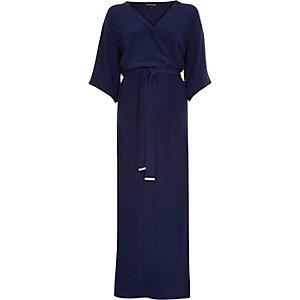 Blue kimono wrap maxi dress