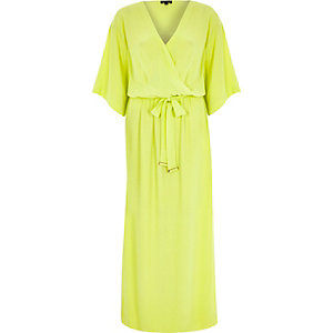 Yellow wrap front kimono maxi dress