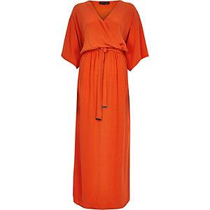 Red kimono wrap maxi dress