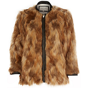 Brown faux-fur jacket