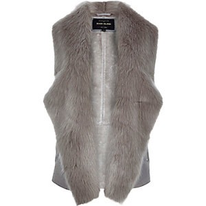 Grey plush faux fur gilet