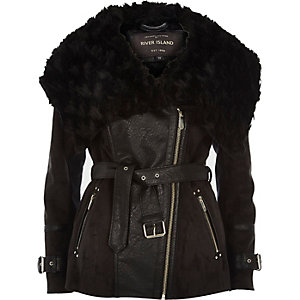 Black belted faux fur jacket