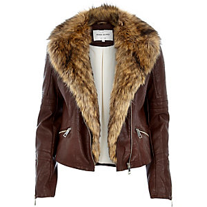 Brown leather-look faux fur jacket