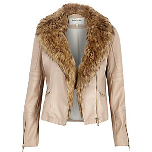 Cream leather-look faux fur biker jacket