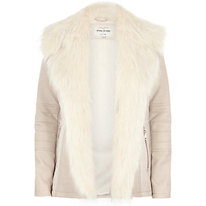 Beige faux fur trim leather-look biker jacket