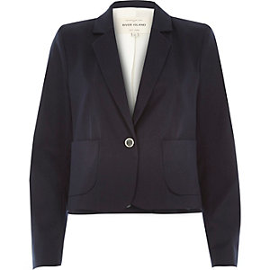 Navy tailored cropped jacket