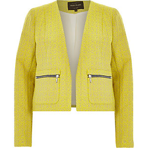Yellow boxy tweed jacket