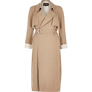 Beige twill trench jacket