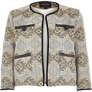 Silver metallic jacquard boxy jacket