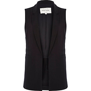 Black sleeveless suit jacket