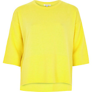 Yellow ottoman ribbed ¾ sleeve top