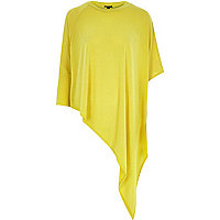Yellow slouchy lightweight asymmetric top