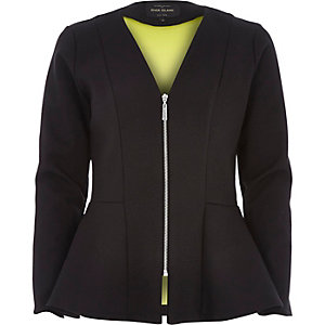 Black structured peplum jacket