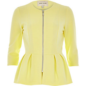 Yellow jersey peplum jacket