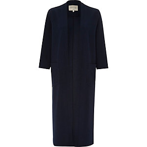 Navy longline jersey kimono