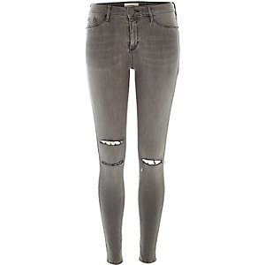 Grey ripped knee Molly jeggings