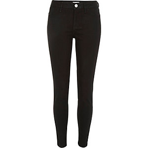 Black coated zip hem Molly reform jeggings