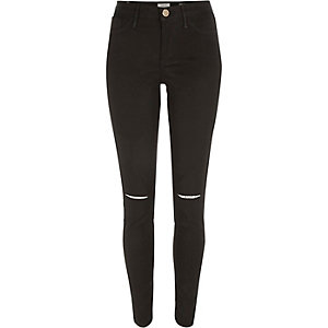 Black coated ripped knee Molly jeggings