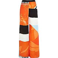 Orange printed palazzo pants