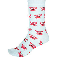 Light blue crab print ankle socks