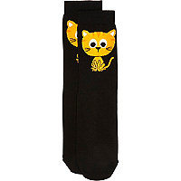 Black cartoon cat print ankle socks