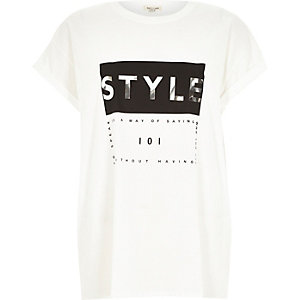 White style foil print oversized t-shirt