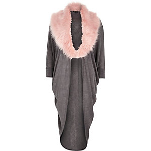 Grey drape faux fur collar cardigan