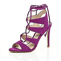 Fuschia pink suede caged lace up heels