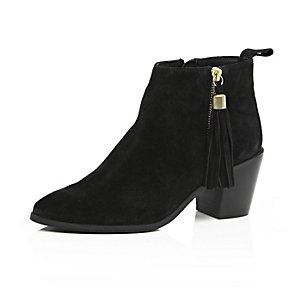 Black suede tassel heeled ankle boots