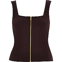 Brown ribbed zip front top