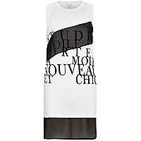 White print spliced chiffon hem tank top