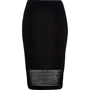 Black grid mesh pencil skirt