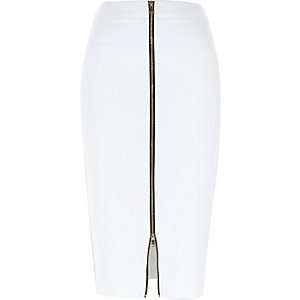 White gold zip front pencil skirt