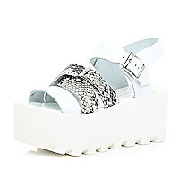 White snake print strappy flatforms