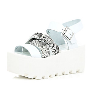 White leather snake print strappy flatforms