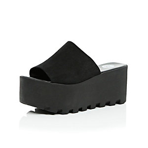 Black suede chunky cleated flatforms