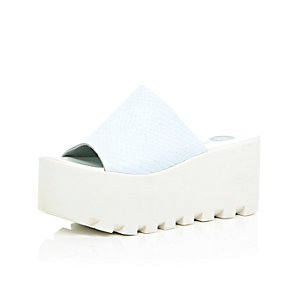 White leather chunky cleated flatforms