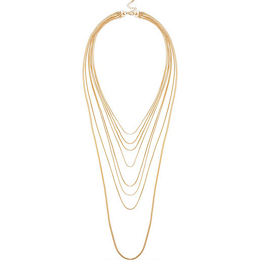 Gold Tone Multi Layer Necklace