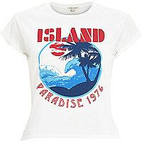 White Paradise Island cropped t-shirt
