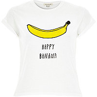 White happy banana print fitted t-shirt